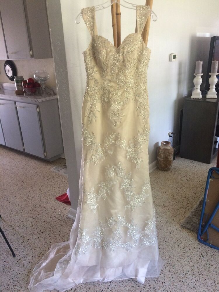 Wedding Dress Size 8 Champagne Color Fashion Clothing Shoes