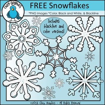 FREE Snowflakes Clip Art Set - Chirp Graphics #clipartfreebies