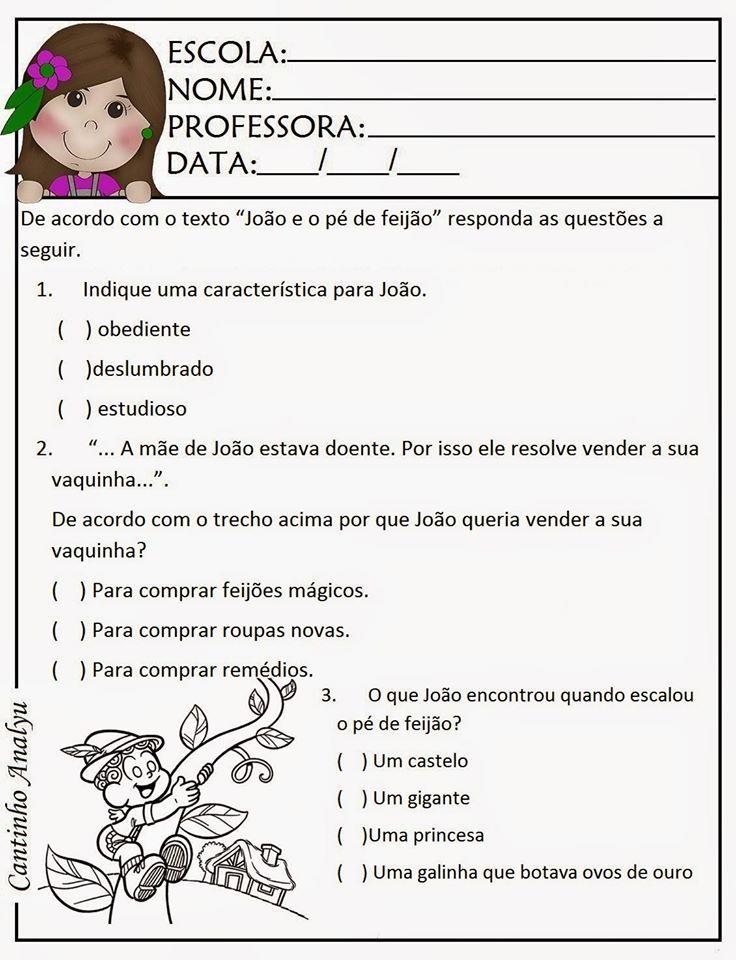 Joao Pe De Feijao Atividades De Conto De Fadas Educacao