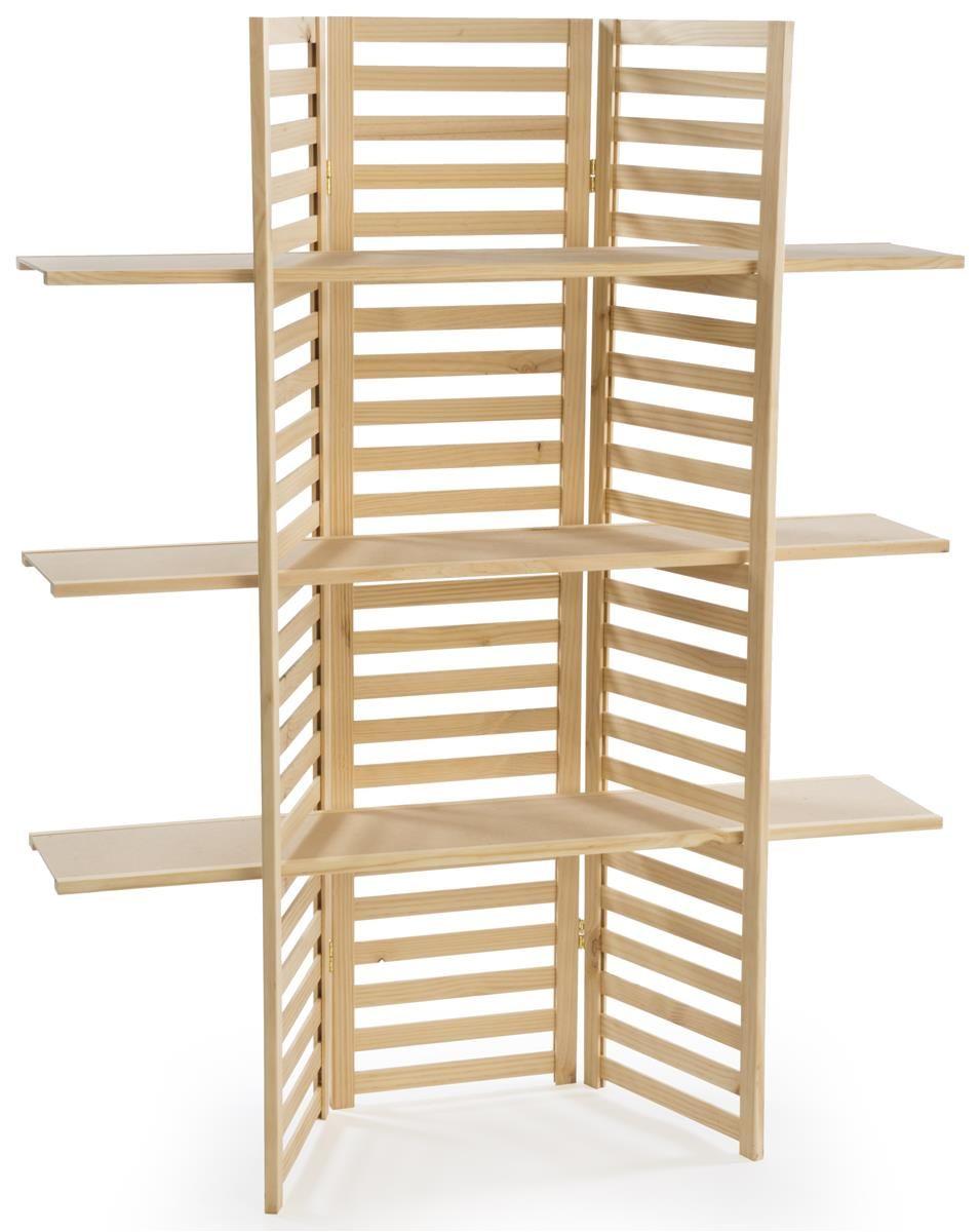 Wooden Retail Shelving Unit W 3 Shelves Folding Panels Pine