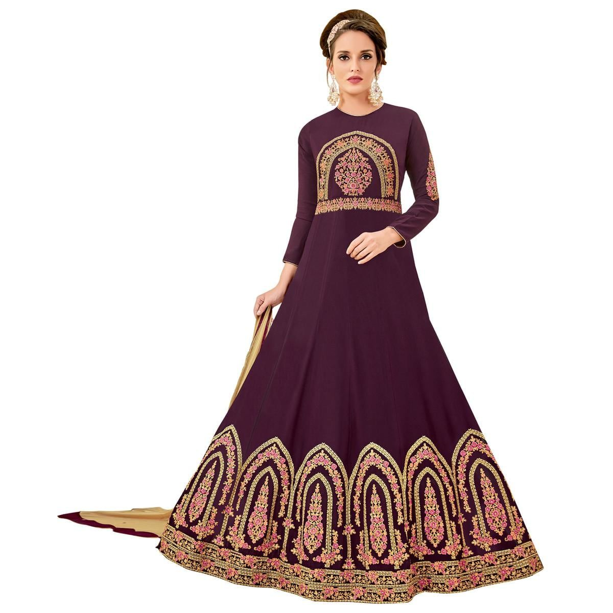 6301356f82 Buy Beautiful Beige Colored Party Wear Embroidered Georgette Anarkali Suit  for womens online India, Best Prices, Reviews - Peachmode