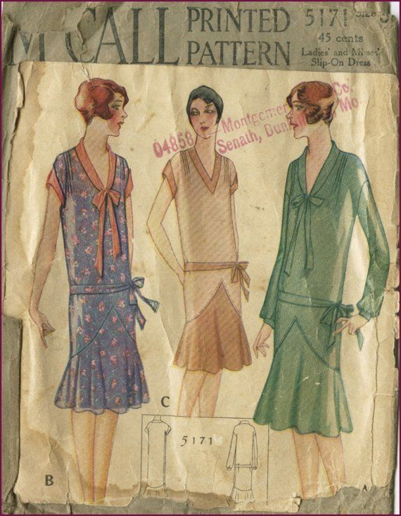 1920s vintage printed McCall flapper dress sewing pattern 38 bust ...