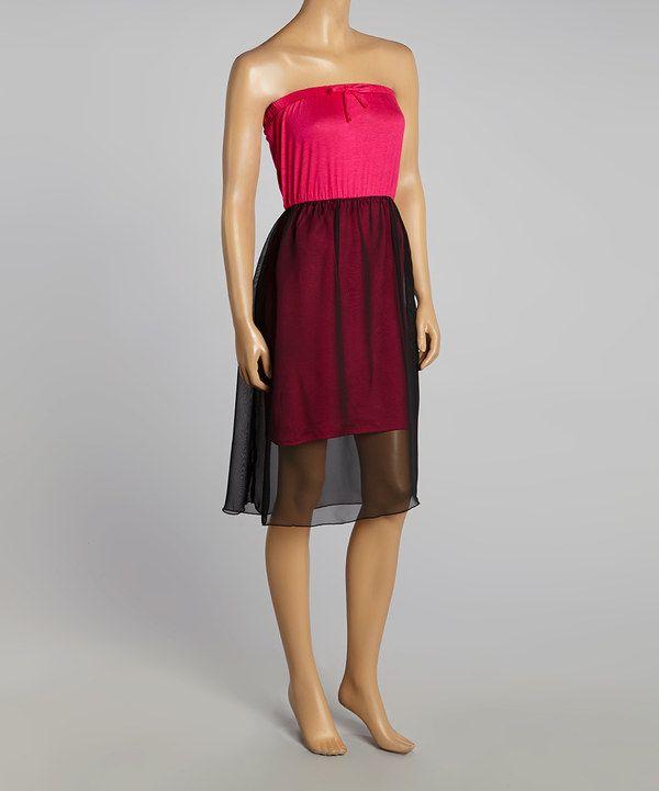 Love this Fuchsia & Black Strapless Dress by GLAM on #zulily! #zulilyfinds