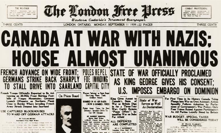 September 10 1939 Canada Declares War On Germany Canada