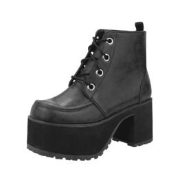 Tuk Black Leather 4 Eye Platform Ankle Punk Boots $5 Shipping To Usa