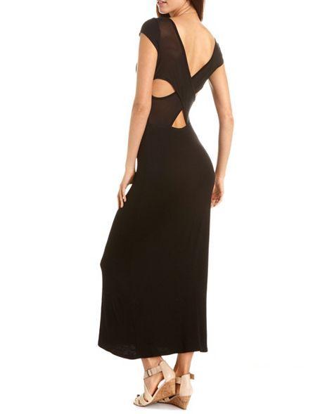 Mesh Crisscross Back Maxi Dress: Charlotte Russe