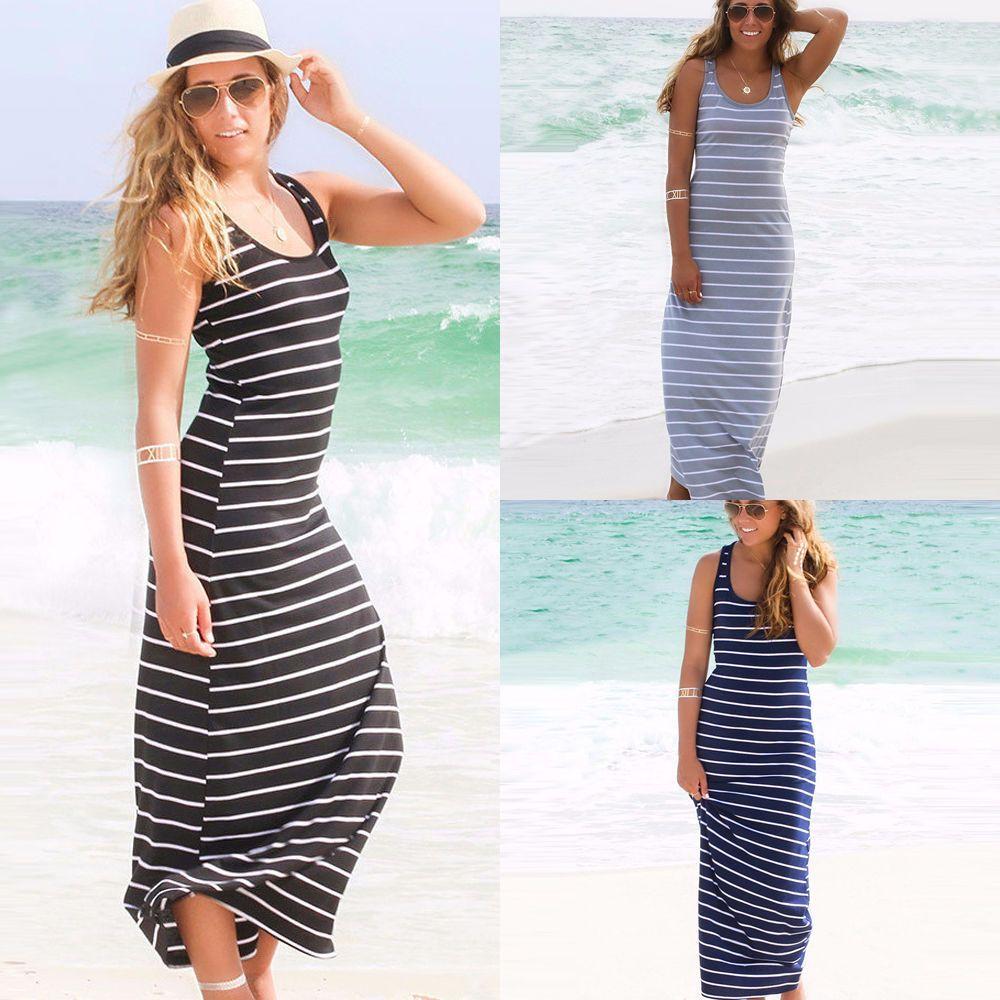 Women u neck sleeveless stripe cotton stretchy casual beach full
