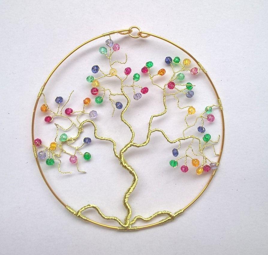 pendentif arbre de vie fait main pierres de naissance multicolores bijou original id e cadeau. Black Bedroom Furniture Sets. Home Design Ideas