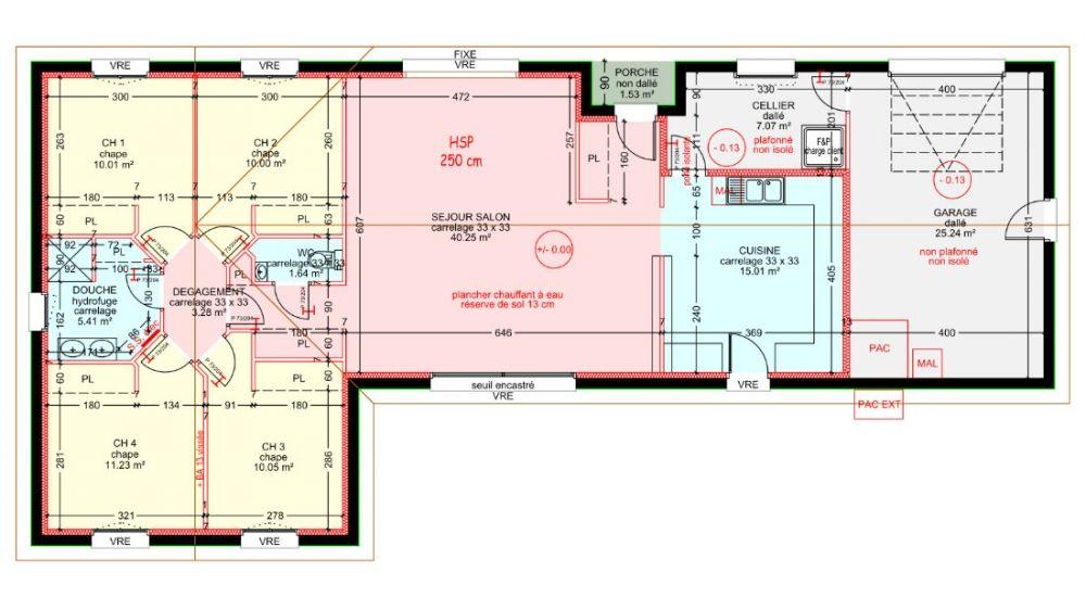Maisons plain pied 4 chambres de 107 m² construite par Demeures - plan maison  plain pied