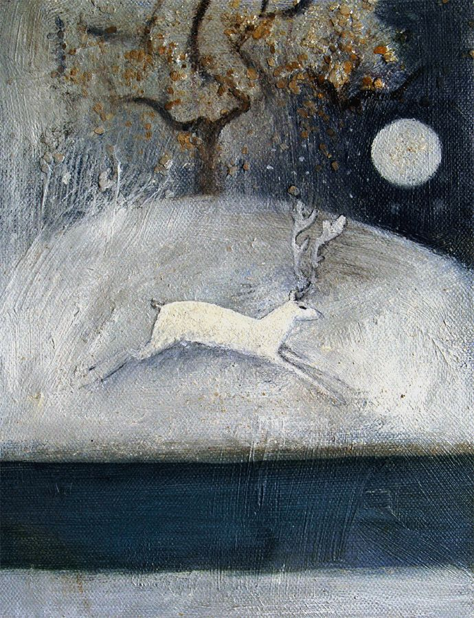 Stag and snow by Catherine Hyde,