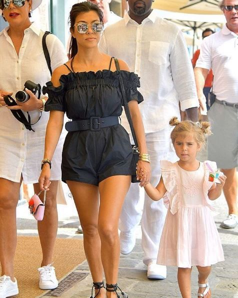 Kourtney Kardashion spotted on holiday in the alice McCALL Dream About Me playsuit
