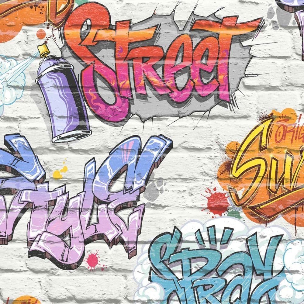 Muriva Graffiti Pattern Childrens Wallpaper Painted Brick Faux