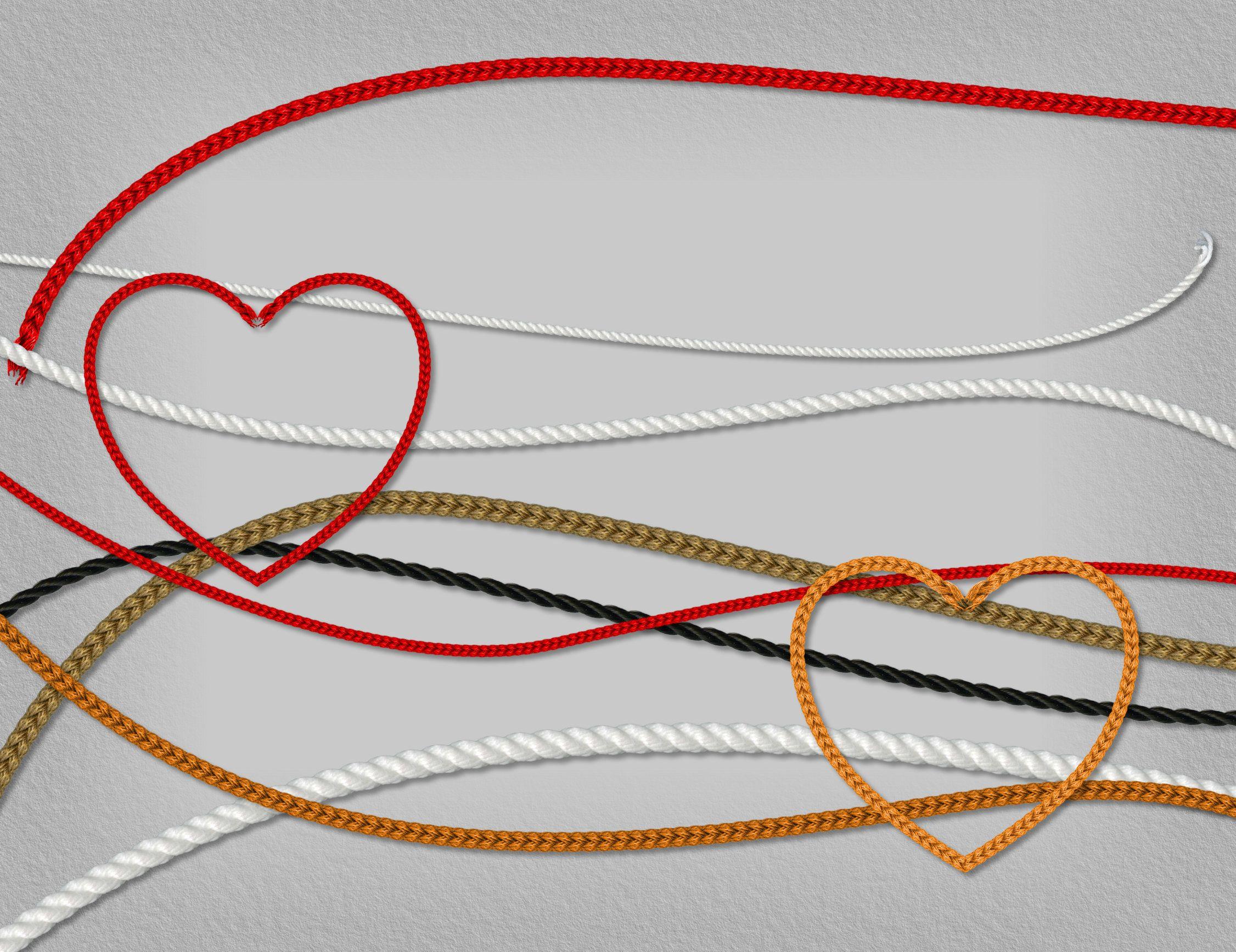 3D realistic decorative rope borders, plaited braiding, weaving ...