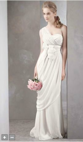 a4cdf3e1feb White by Vera Wang for David s Bridal - One-shoulder crinkle chiffon gown  with matching grosgrain sash (not shown) and asymmetrically draped skirt.