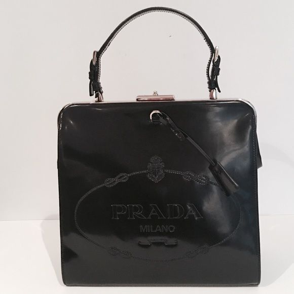 d5f01c412712 AUTHENTIC NWT PRADA LEATHER LOGO EMBOSSED BAG % AUTHENTIC - NWT. VINTAGE  ITEM. PURCHASED AT NEIMAN MARCUS. AUTHENTICITY CARD   DUST COVER INCLUDED.