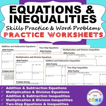 Equations Inequalities Homework Worksheets Skills Practice Word Problems Skills Practice Homework Worksheets Word Problems