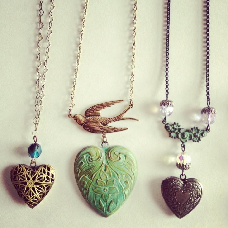 Hearts, Heart Lockets and Bird necklaces