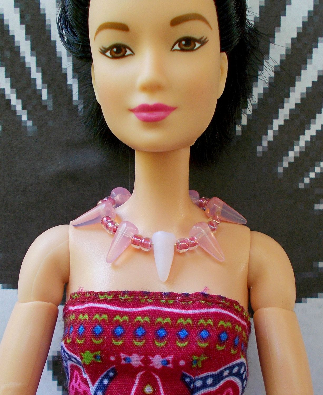Doll necklace pink white glass cone necklace 17 doll