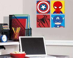 4 Quadros Decorativos - Heróis