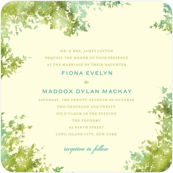 Shades of green add a natural touch to this beautiful square wedding