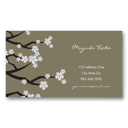 White Cherry Blossoms Sakura Spring Flowers Branch Business Cards