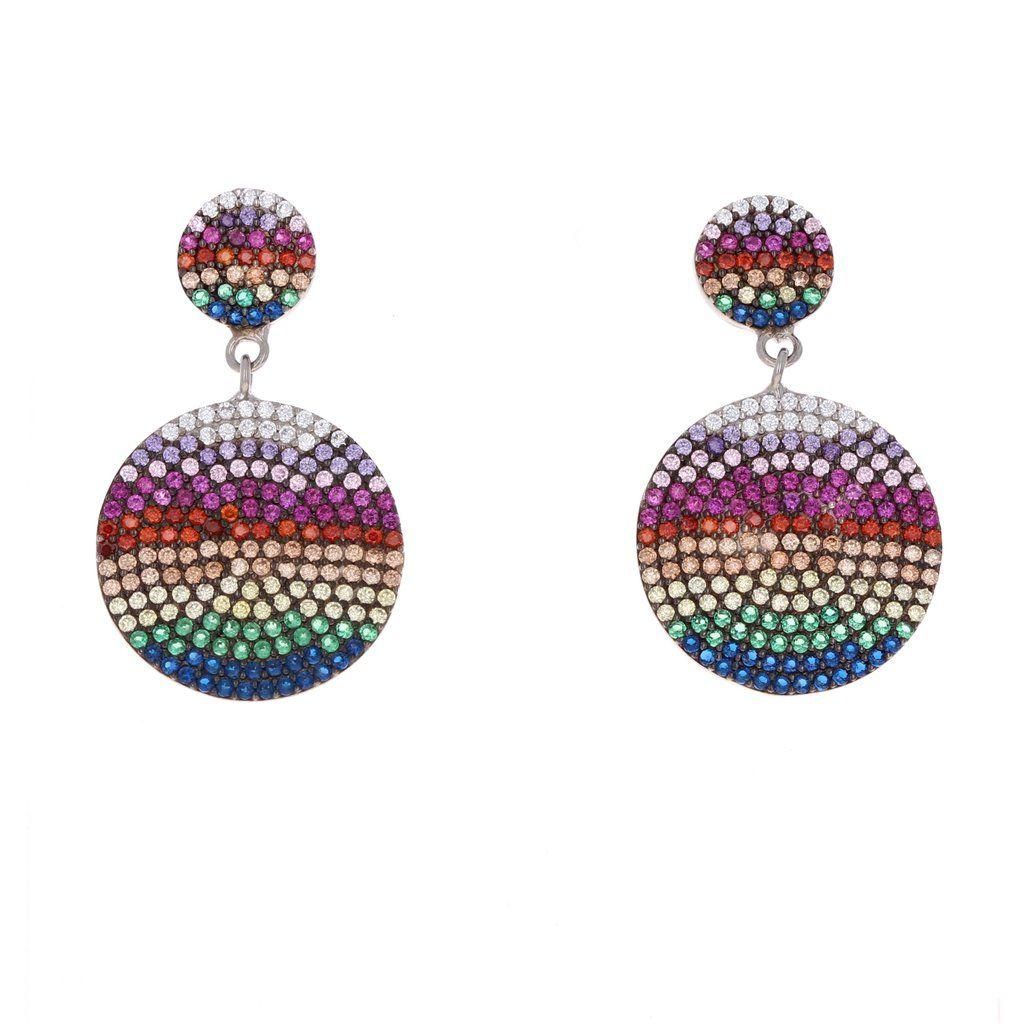 358b255fd Rainbow Double Disc Cubic Zirconia Drop Earrings #rainbowearrings  #rainbowjewelry #hottrend #musthave #
