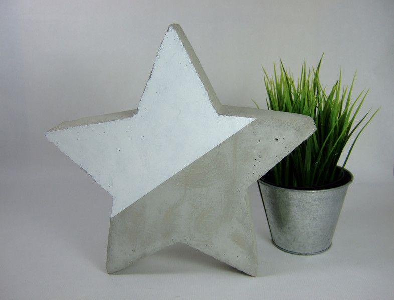Stern Beton/weiß | Gartendekoration, Sterne und Dawanda