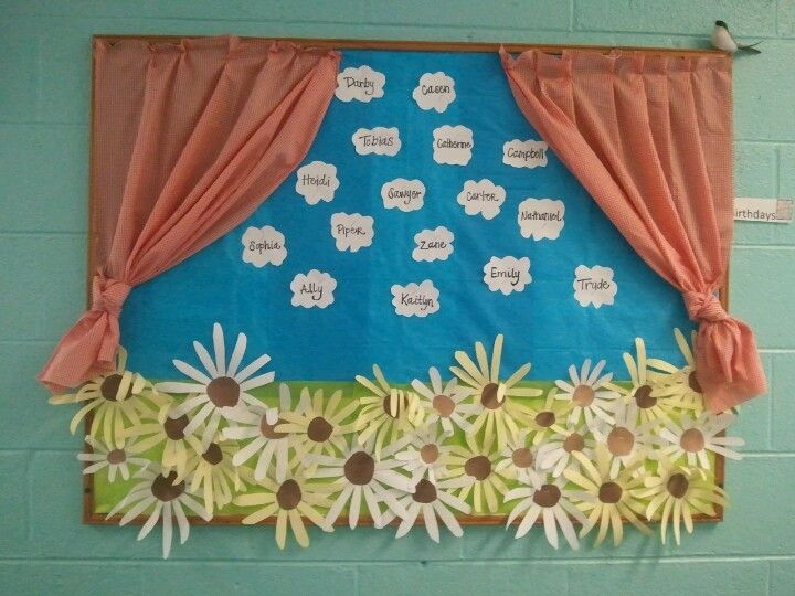 This is our Spring bulletin board. We wanted to make it