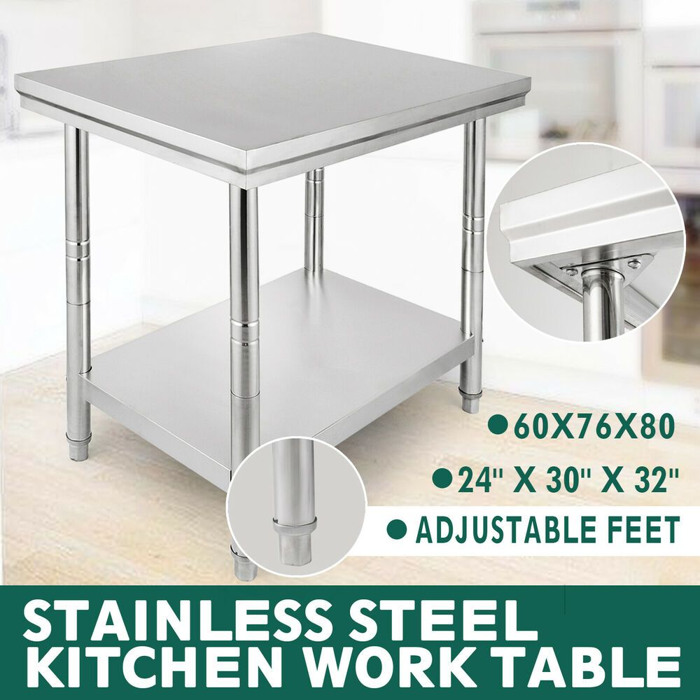 Ebay Sponsored 24x30 Stainless Steel Work Table Food Prep Tables Bench Storage For Kitc Stainless Steel Work Table Stainless Steel Kitchen Kitchen Work Tables