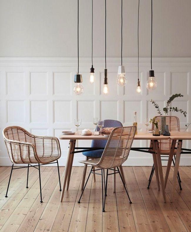 Inspiration suspension ampoule salle à manger ambiance scandinave idée
