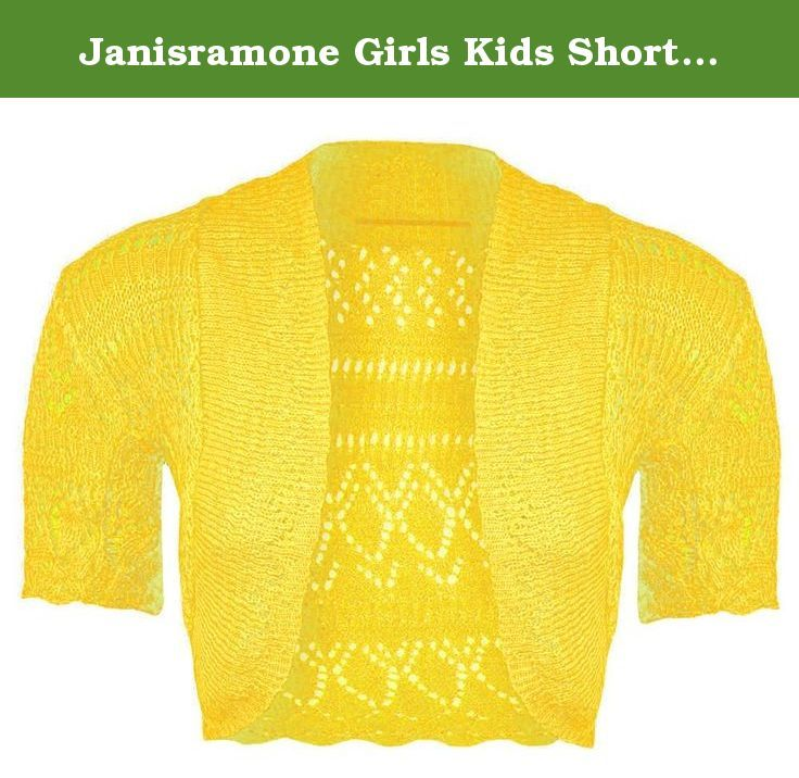 7e765e279d6 Janisramone Girls Kids Short Sleeve New Crochet Knitted Bolero Shrug Ladies  Open Cardigan Crop Top.