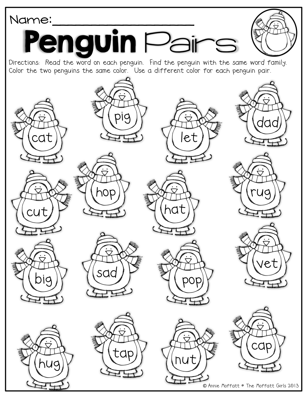 penguin pairs find and color the penguins with the same word family the same color such a fun. Black Bedroom Furniture Sets. Home Design Ideas