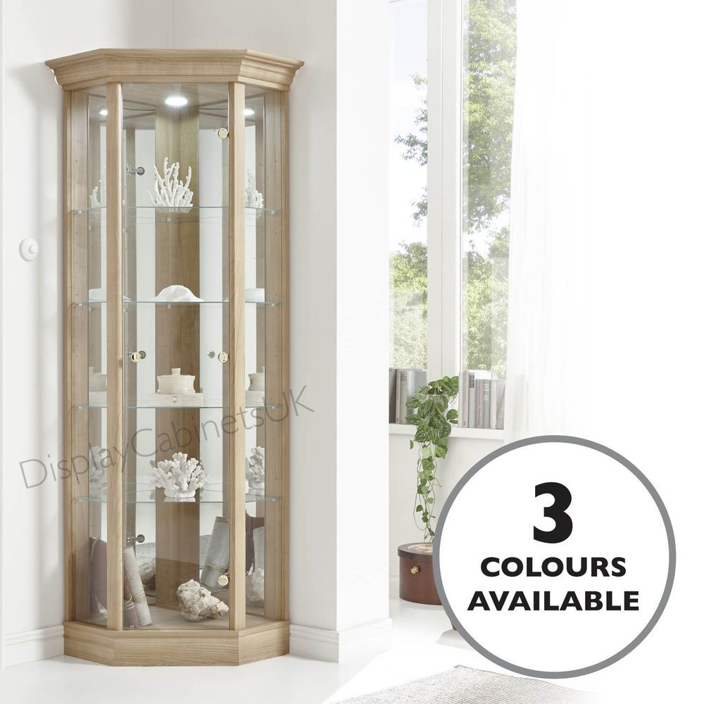 Details About Home 1 Door Glass Corner Cabinet Pelmet In Oak Dark Oak Or Mahogany Effect Glass Display Case Glass Shelves Ikea Glass Display Shelves