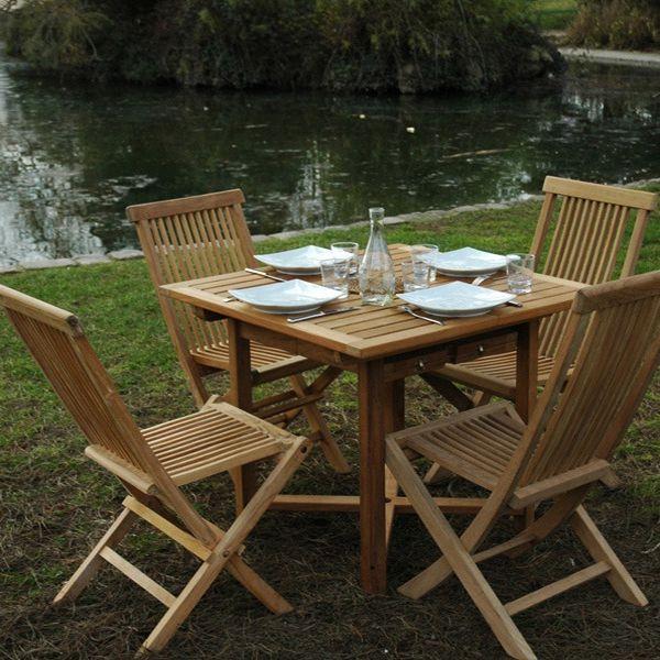 Salon De Jardin Antigua En Teck 4 6 Personnes Table 90 140 X 90 X 75 Cm 6 Chaises Table De Jardin Bois Jardins En Bois Table De Jardin