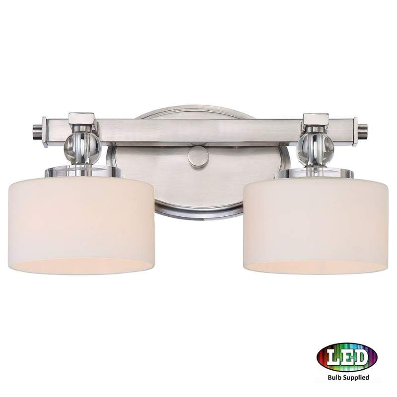 View the quoizel dw8602led downtown 2 light led 15 wide bathroom quoizel downtown 2 light wide bathroom vanity light with glass dru brushed nickel indoor lighting bathroom fixtures vanity light aloadofball Gallery