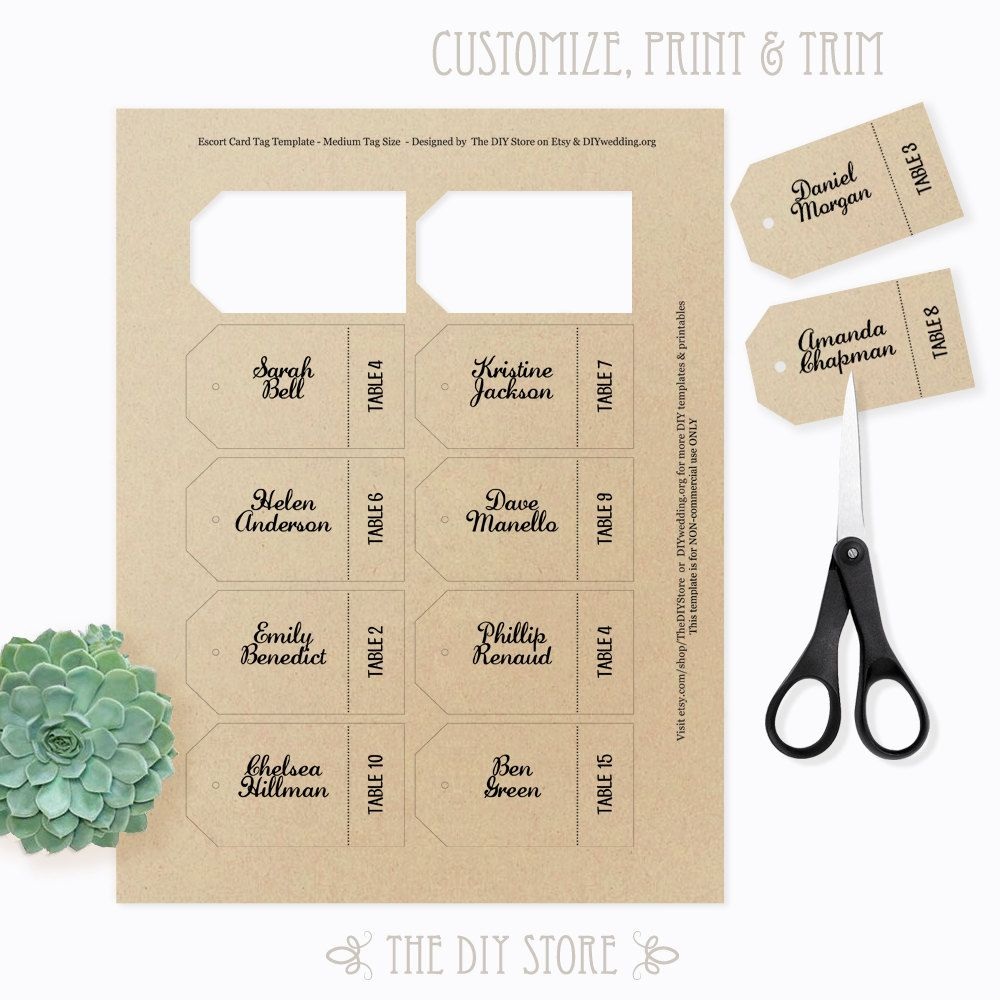 Escort Card Tag Template MEDIUM Size Seating Cards Place Cards - Place card size template