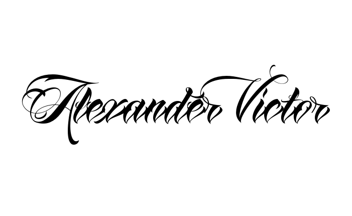 Tattoo Name Alexander Victor Using The Font Style Anha Queen Script