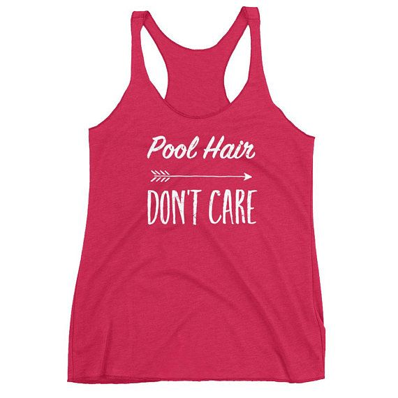 73c30fba8357f Pool Hair Don't Care Women's Racerback Tank #waterpolo #pool #swim #swimmer  #swimteam