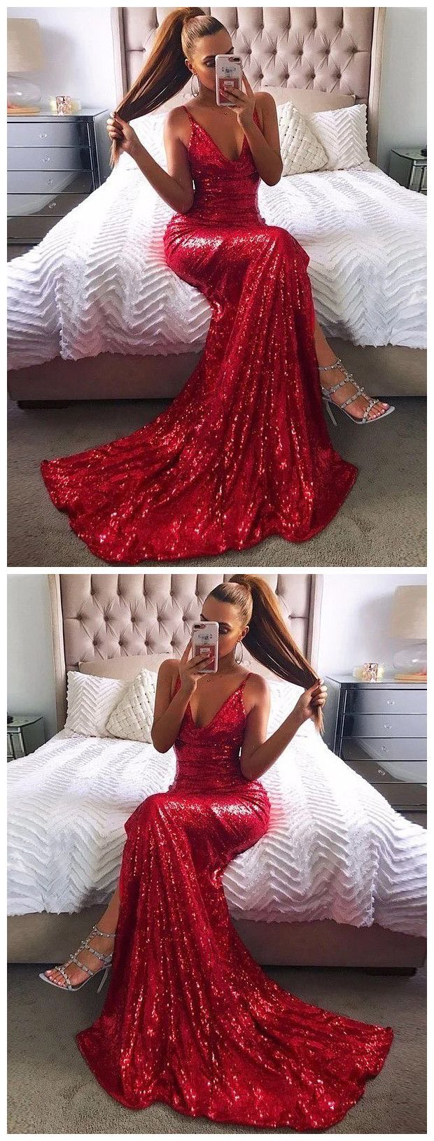 Trumpetmermaid spaghetti straps sparkly sequins sexy long prom