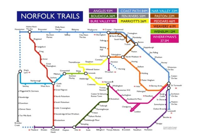 The Norfolk Trails tube style map Image Norfolk County Council