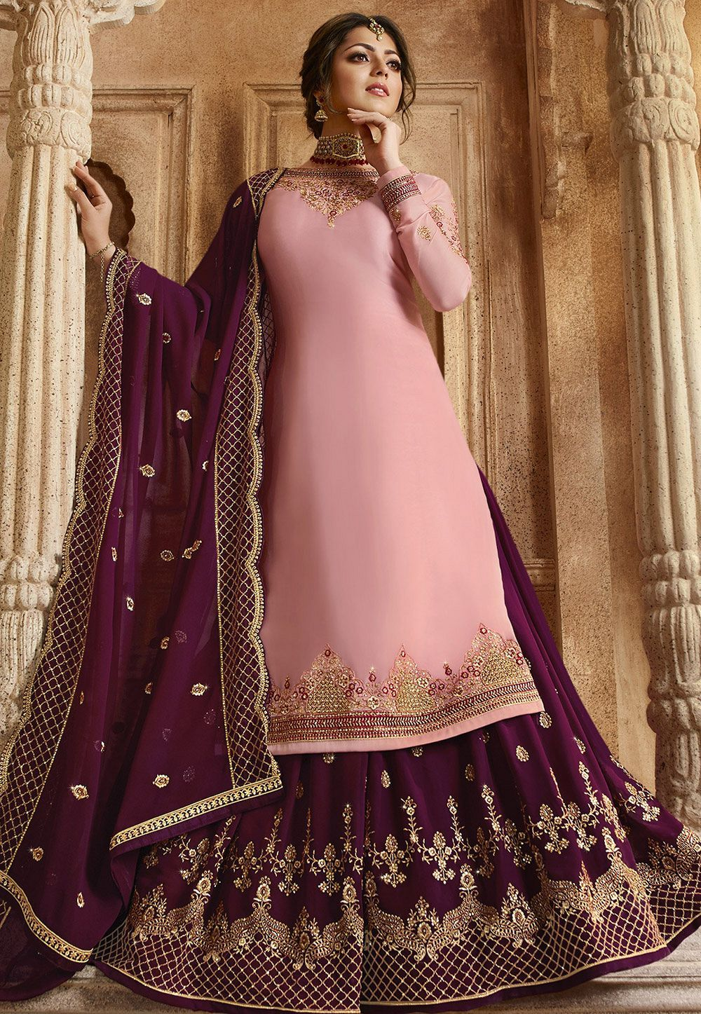 68179bdfb8 Pink and Purple Satin Georgette Lehenga and Churidar Designer Suit 3006