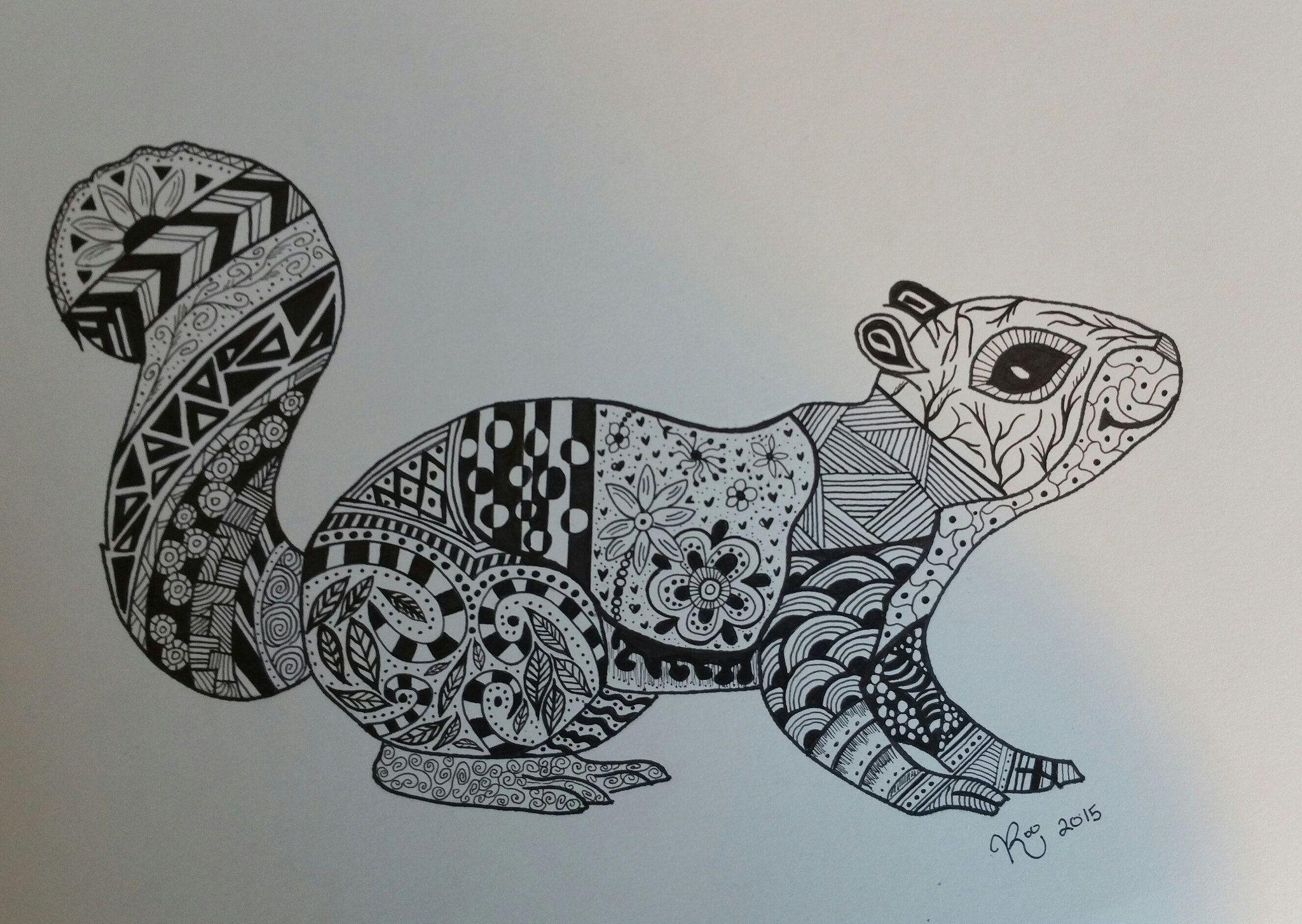 Squirrel zentangle Doodle Art Zentangle Squirrel