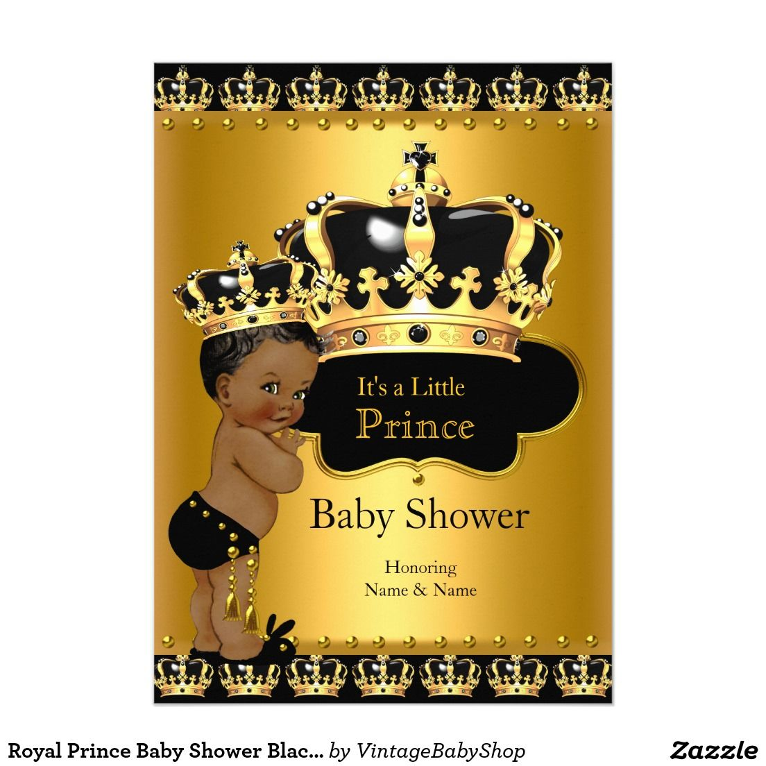Royal Prince Baby Shower Black Gold Ethnic 5x7 Paper Invitation Card ...