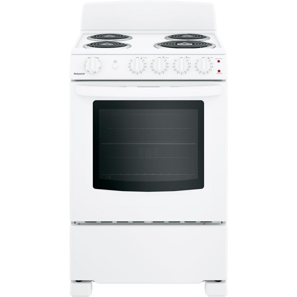 Hotpoint 24 In 2 9 Cu Ft Electric Range Oven In White Ras240dmww The Home Depot Freestanding Electric Ranges Electric Range Oven Hotpoint