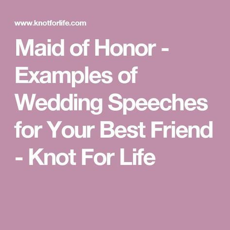 made of honor speech examples