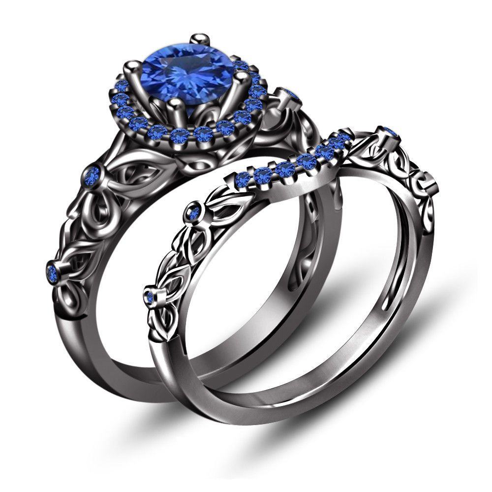 black rhodium over 925 silver 170 ct blue sapphire princess snow white ring set - Blue Sapphire Wedding Ring Sets