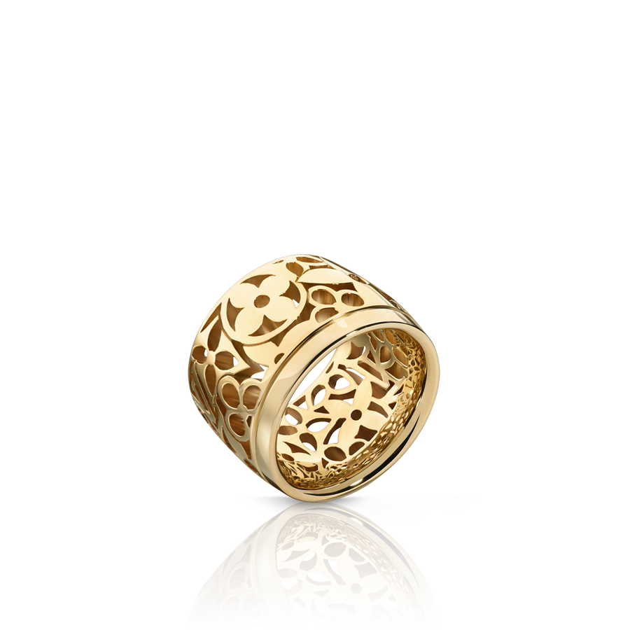 Large monogram résille band ring in yellow gold via louis vuitton
