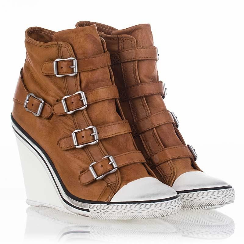 Thelma Wedge Sneaker Camel Waxed Leather 312021