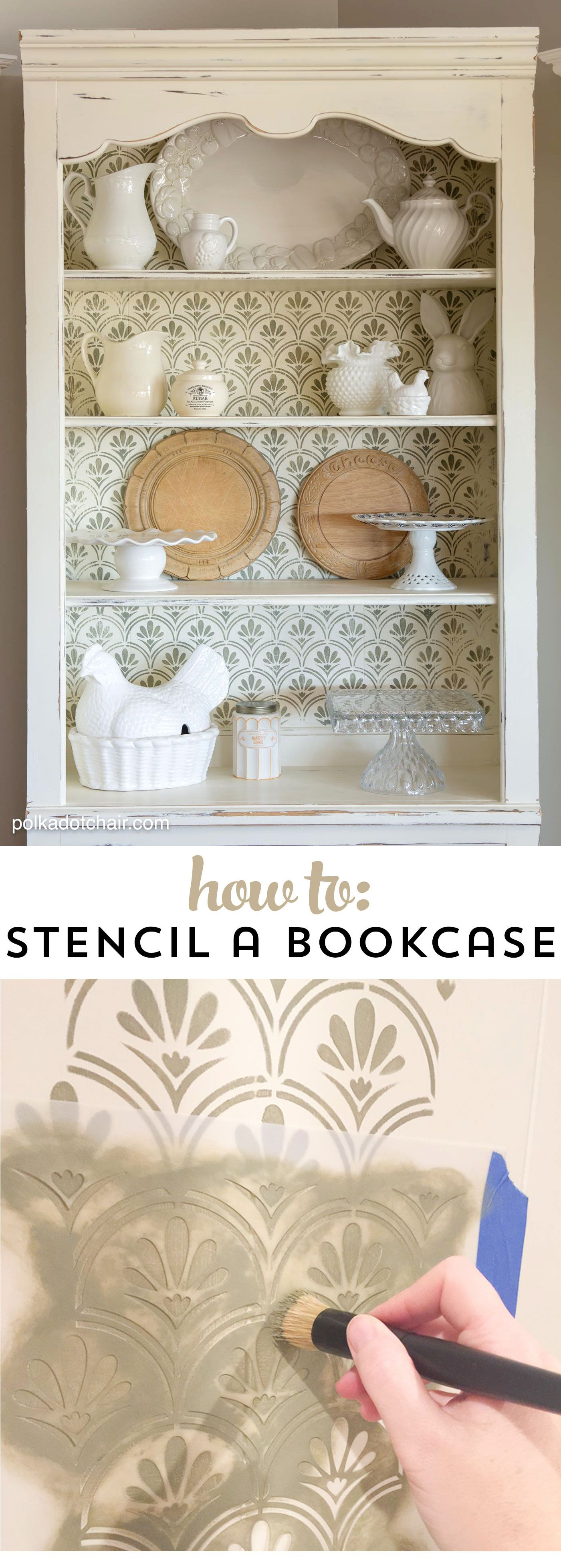 How to's : DIY Stenciled Bookcase & Giveaway