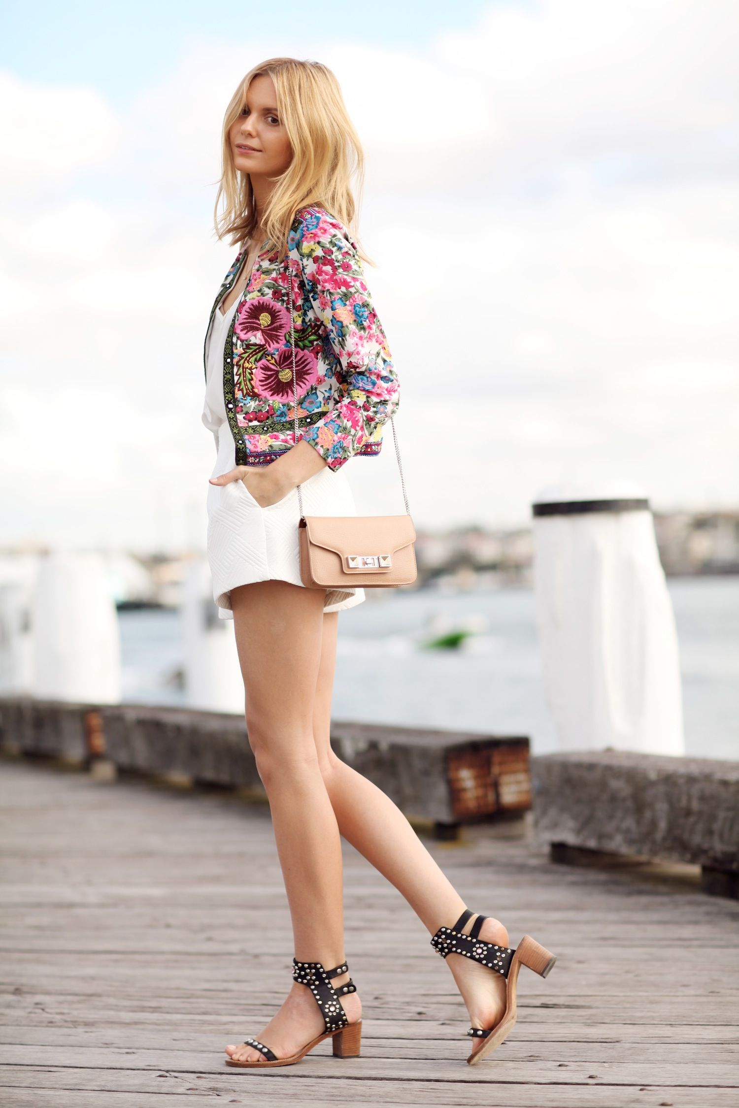 ASOS floral embroidery jacket, ASOS cami, ASOS high waisted shorts, Isabel Marant sandals